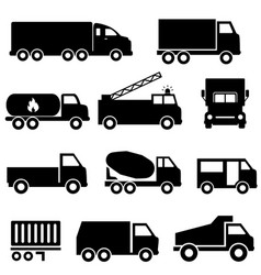trucks and transportation icon set vector image vector image