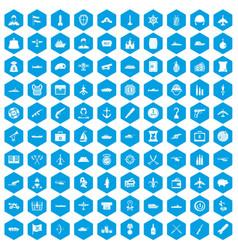 100 combat vehicles icons set blue vector