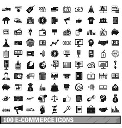 100 e-commerce icons set simple style vector