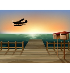 A sunset at the port with two wooden mailboxes vector