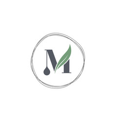 abstract letter m droplet vector image