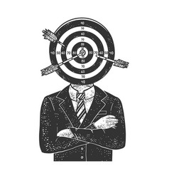 Aim target head businessman sketch vector