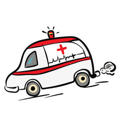 Ambulance car in rush color on white background vector