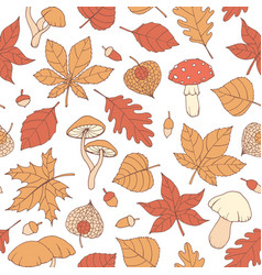 autumn seamless pattern with oak poplar leaves vector image