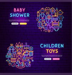 baby neon banners vector image