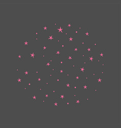 Background with pink stars hand drawn vector