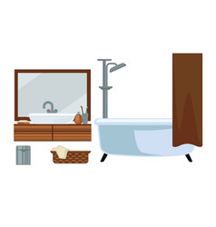 bathroom fruniture and bathing accessories vector image