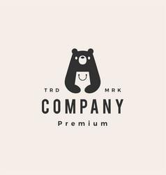 bear shop hipster vintage logo icon vector image