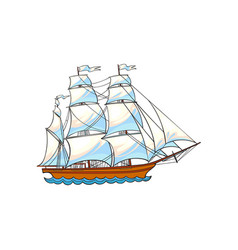 Beautiful sailing ship sailboat with white sails vector