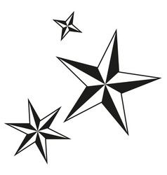 black and white christmas stars silhouette set vector image