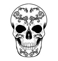 black and white decorative day dead skull vector image