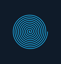 Blue linear spiral archimedean spiral isolated vector