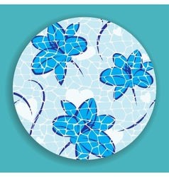 Blue Mosaic Flower vector image