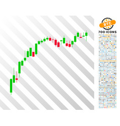 candlestick chart growth slowdown flat icon with vector image