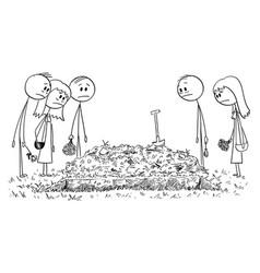 Cartoon sad people friends or family members vector