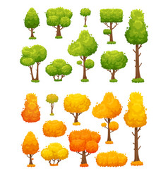 cartoon tree cute wood plants and bushes green vector image