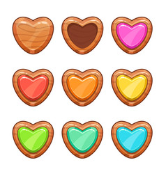 cartoon wooden hearts set vector image