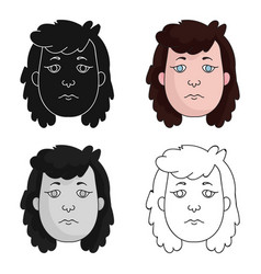 Cavewoman face icon in cartoon style isolated on vector