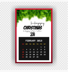 christmas happy new year 2019 calendar february vector image