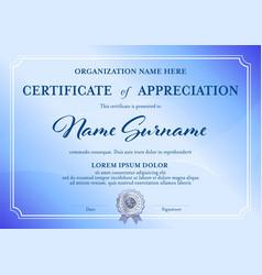 Classic certificate appreciation template blue vector