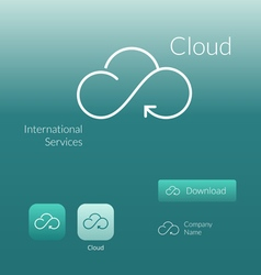 Cloud stylish logo icon and button concept vector