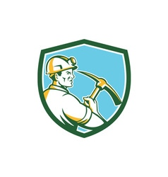 Coal Miner Hardhat With Pick Axe Side Shield Retro vector