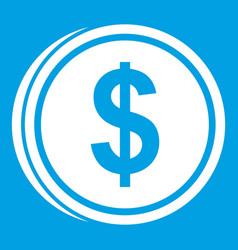Coin dollar icon white vector