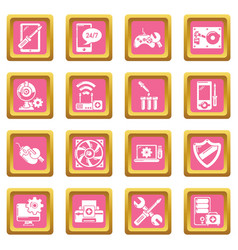 computer repair service icons set pink square vector image