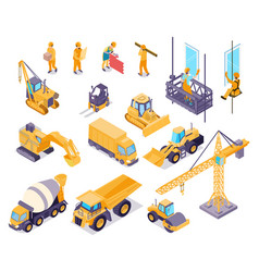construction isometric set vector image