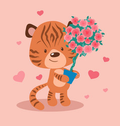 cute cartoon tiger with a topiary in a pot vector image