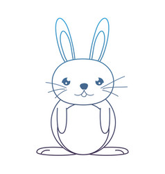 Degraded line happy male rabbit cute animal vector