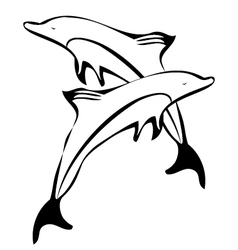 Dolphins silhouettes logo vector