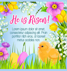easter poster card paschal eggs greetings vector image