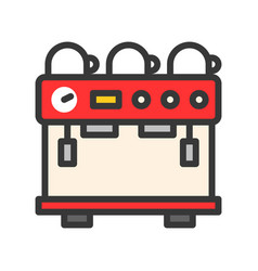 Espresso machine coffee related filled style vector