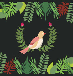 floral with bird leaves border decoration design vector image
