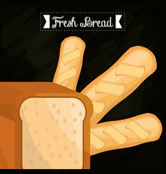 Fresh bread slice bread and baguette vector