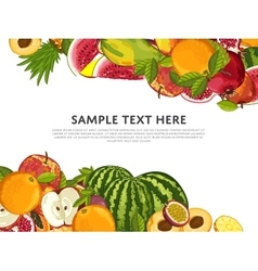 Fruit mix with leaves on white background vector