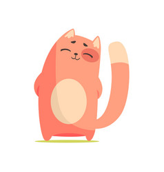 Funny happy red cat standing with his paws folded vector