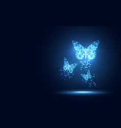 Futuristic blue lowpoly butterfly abstract vector