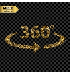 Gold glitter icon of 360 degrees isolated vector image