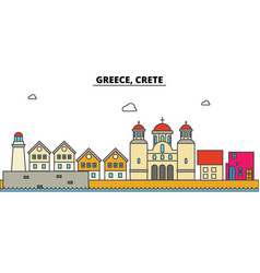 Greece crete city skyline architecture vector