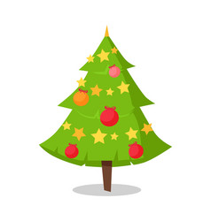 Green bushy christmas tree icon decorated by star vector