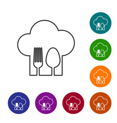 Grey line chef hat with fork and spoon icon vector