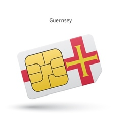 Guernsey mobile phone sim card with flag vector