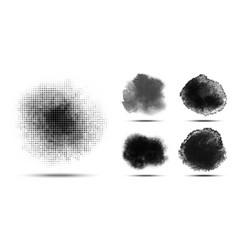 halftone grunge circle pattern set vector image