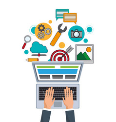 hand businessman work digital marketing vector image