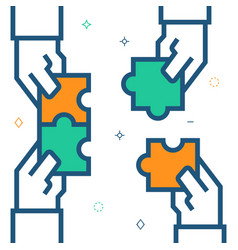 hands assembling puzzle business concept vector image