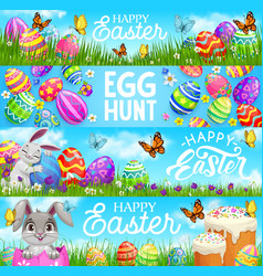 Happy easter egg hunt cartoon bunnies vector