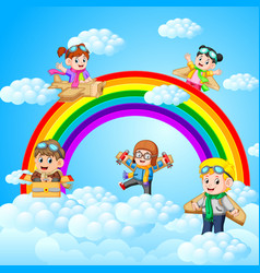 happy kid playing cardboard plane with sky scenery vector image