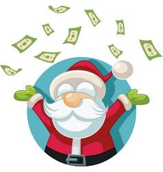Happy santa claus throwing money up in air vector